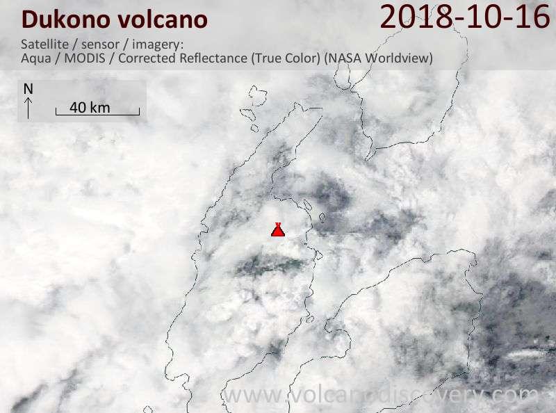 Satellite image of Dukono volcano on 16 Oct 2018