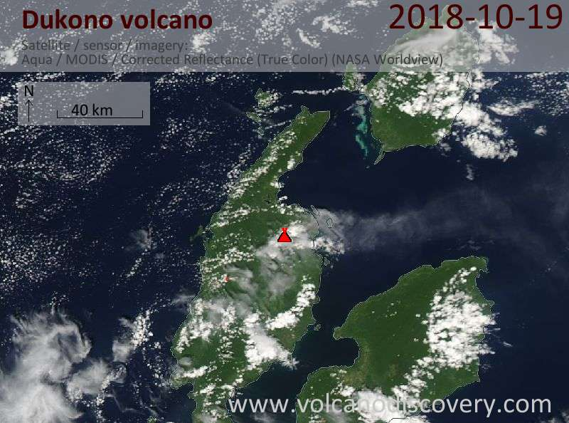 Satellite image of Dukono volcano on 19 Oct 2018