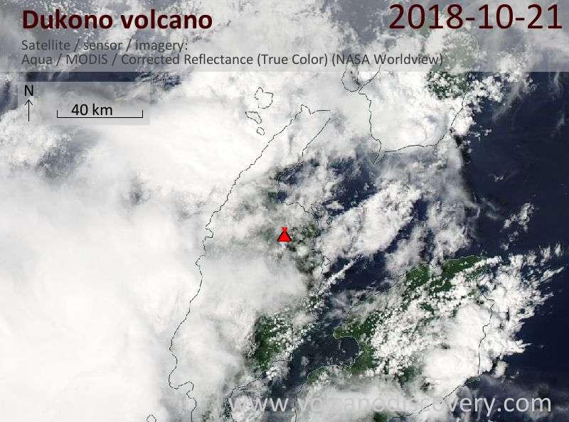 Satellite image of Dukono volcano on 21 Oct 2018