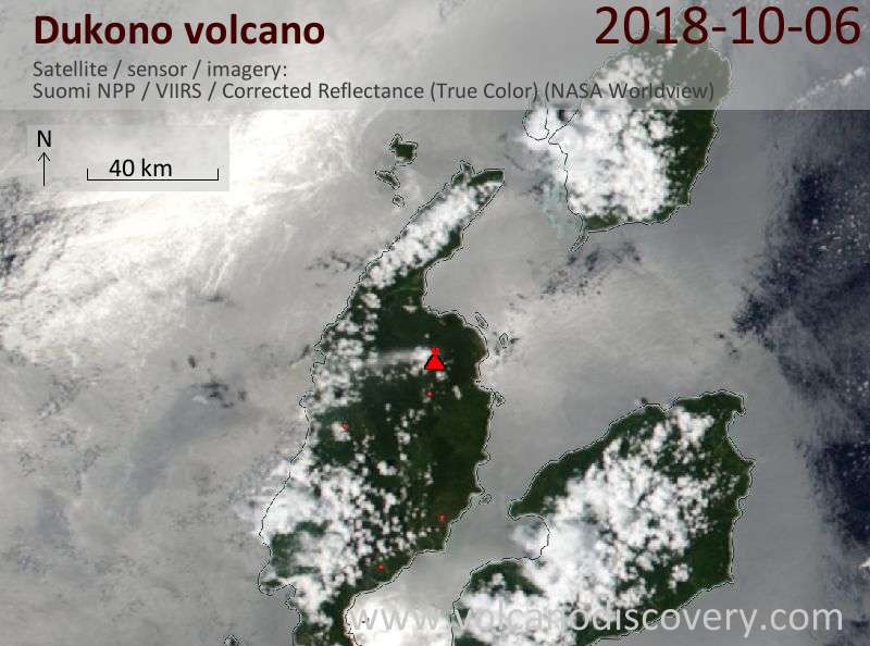 Satellite image of Dukono volcano on  6 Oct 2018