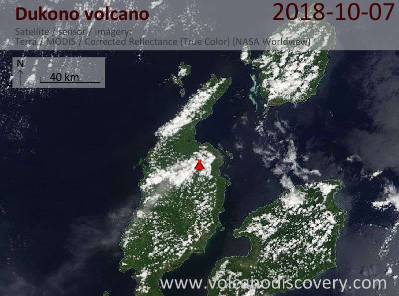 Satellite image of Dukono volcano on  7 Oct 2018