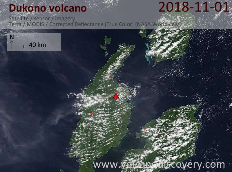 Satellite image of Dukono volcano on  1 Nov 2018