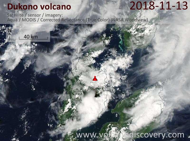 Satellite image of Dukono volcano on 13 Nov 2018