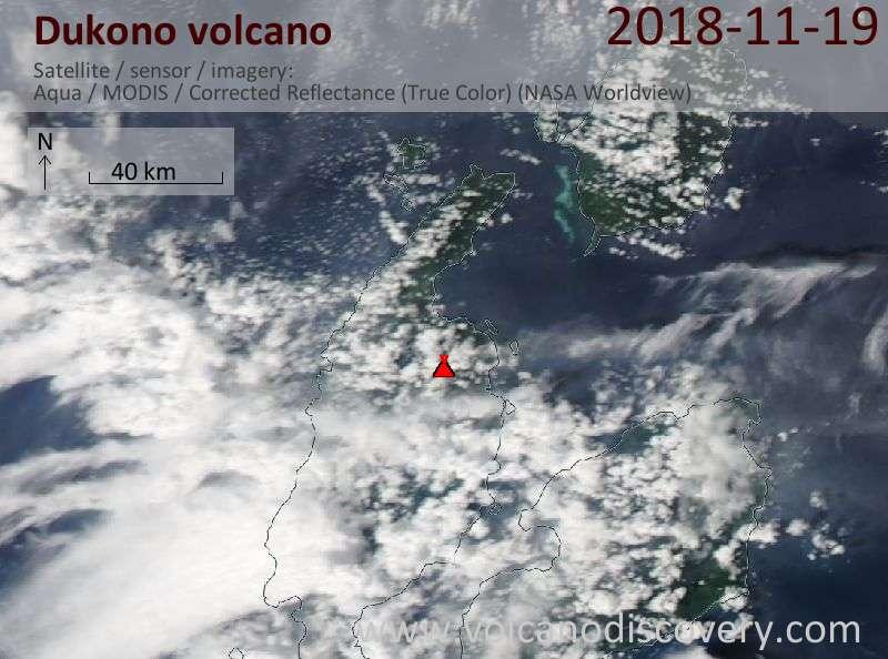 Satellite image of Dukono volcano on 19 Nov 2018
