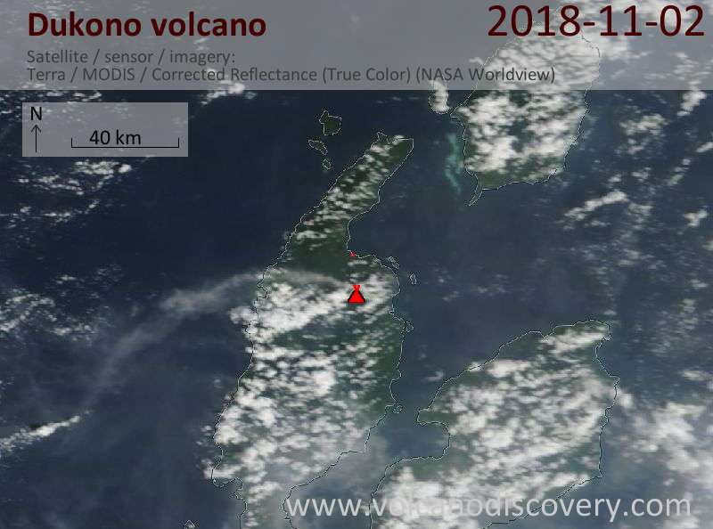 Satellite image of Dukono volcano on  2 Nov 2018