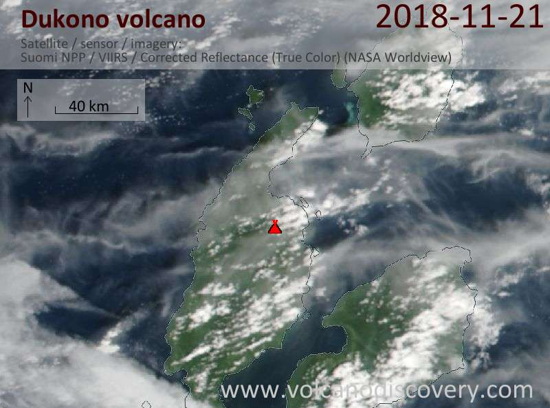 Satellite image of Dukono volcano on 21 Nov 2018
