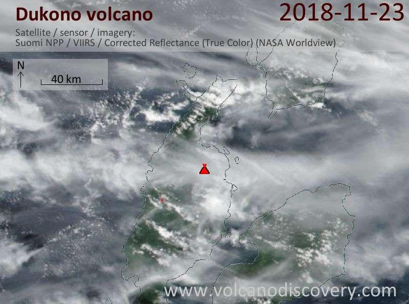 Satellite image of Dukono volcano on 23 Nov 2018