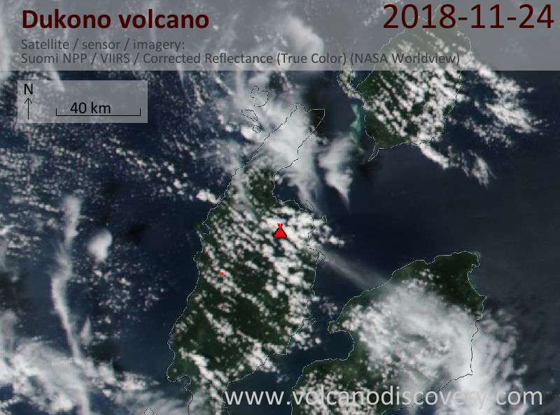 Satellite image of Dukono volcano on 24 Nov 2018