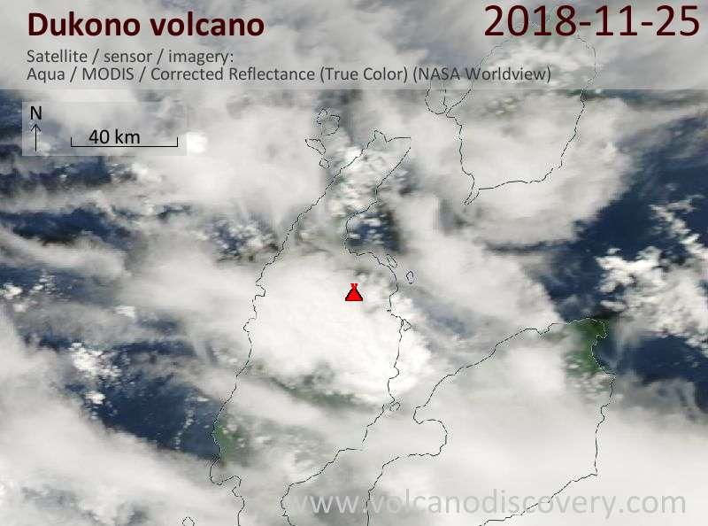 Satellite image of Dukono volcano on 25 Nov 2018