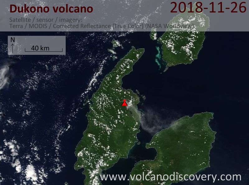 Satellite image of Dukono volcano on 26 Nov 2018