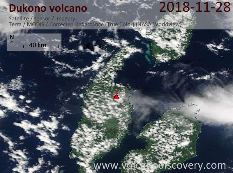 Satellite image of Dukono volcano on 28 Nov 2018