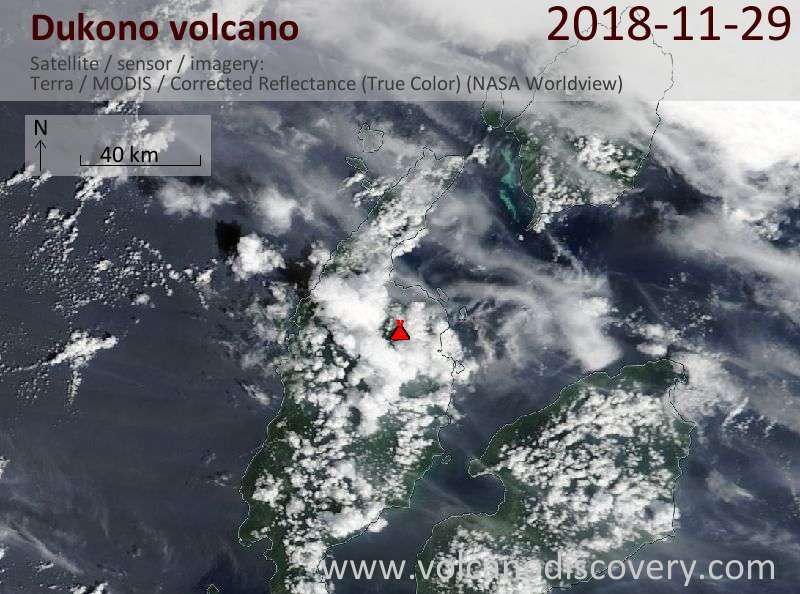Satellite image of Dukono volcano on 29 Nov 2018