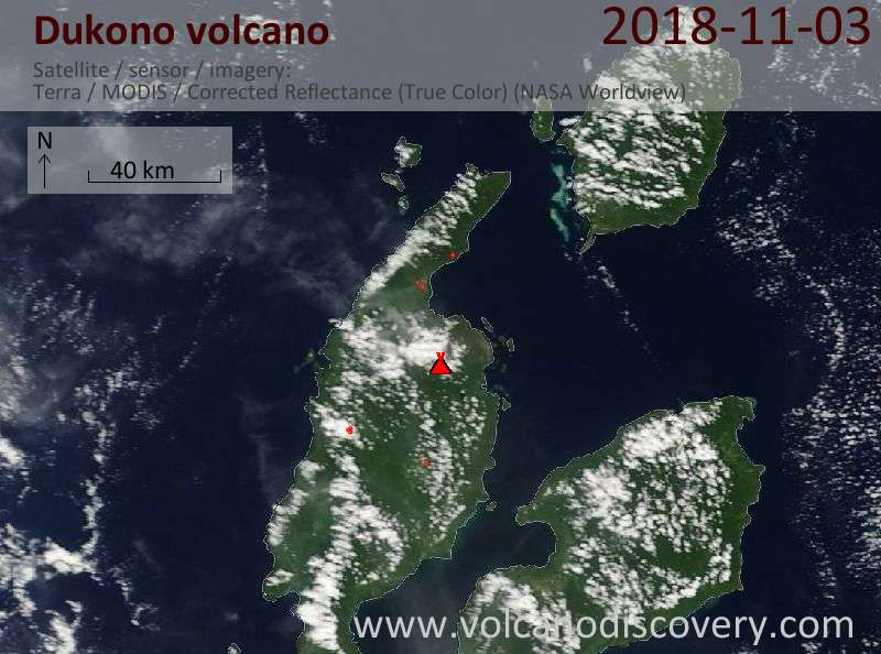 Satellite image of Dukono volcano on  3 Nov 2018