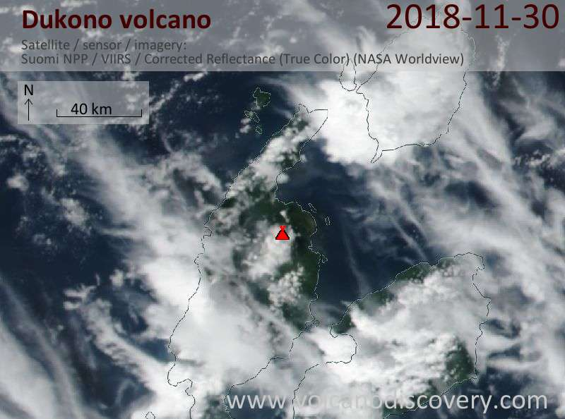 Satellite image of Dukono volcano on 30 Nov 2018