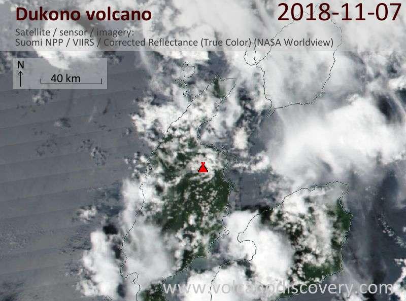 Satellite image of Dukono volcano on  7 Nov 2018