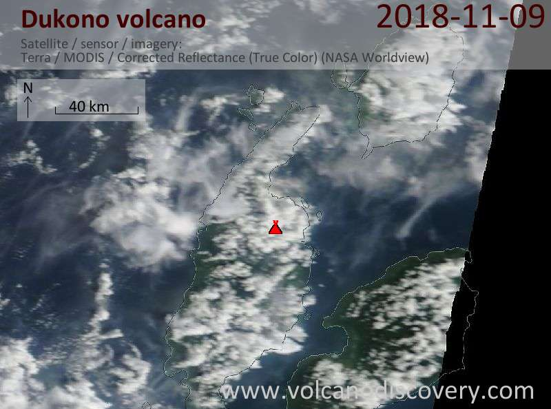 Satellite image of Dukono volcano on  9 Nov 2018