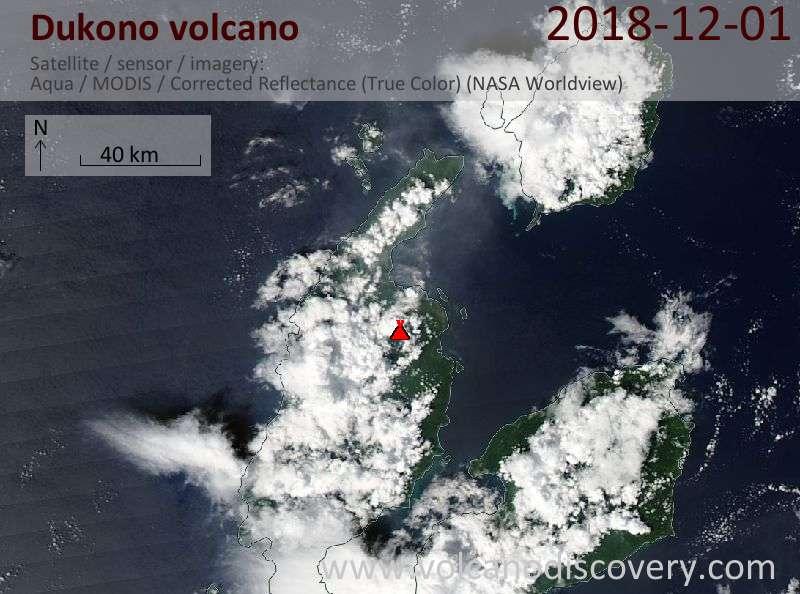 Satellite image of Dukono volcano on  1 Dec 2018