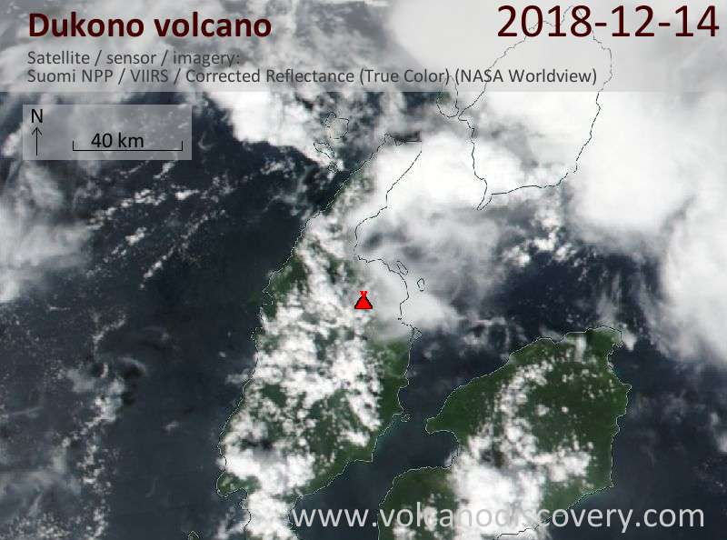 Satellite image of Dukono volcano on 14 Dec 2018