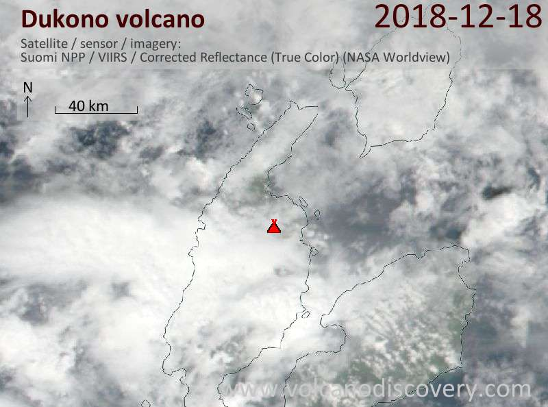 Satellite image of Dukono volcano on 18 Dec 2018