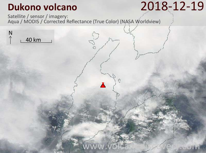 Satellite image of Dukono volcano on 20 Dec 2018