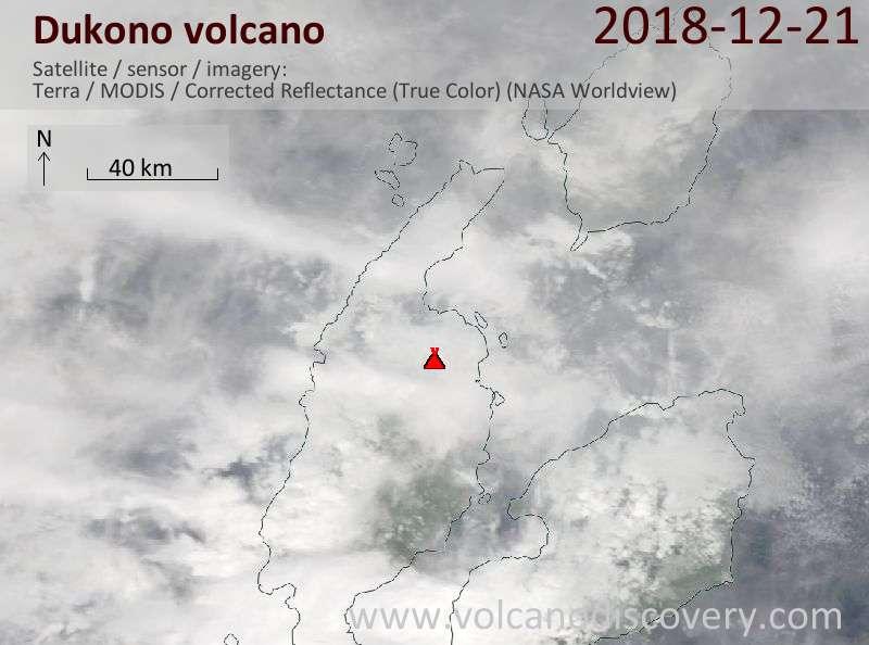 Satellite image of Dukono volcano on 21 Dec 2018