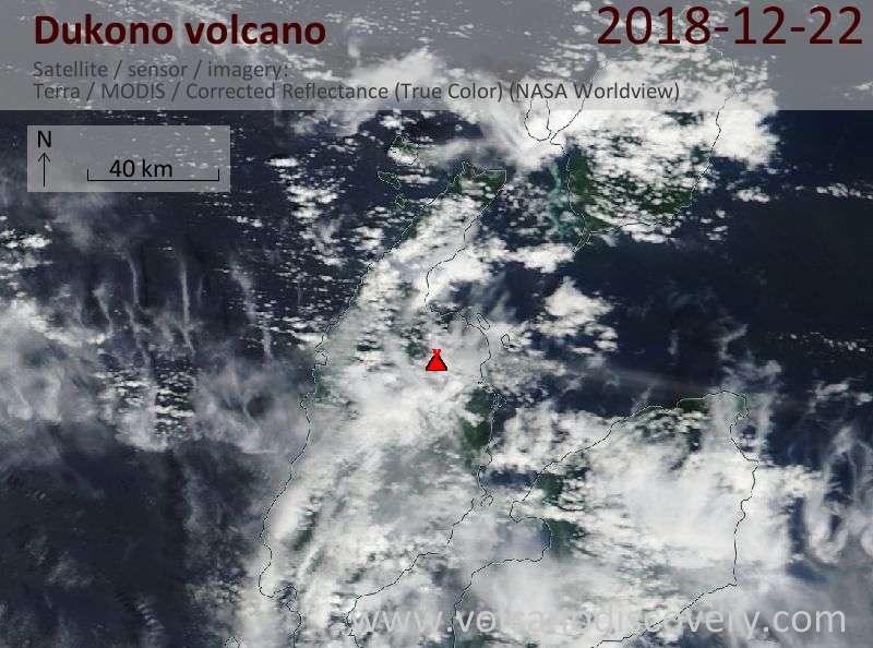 Satellite image of Dukono volcano on 22 Dec 2018
