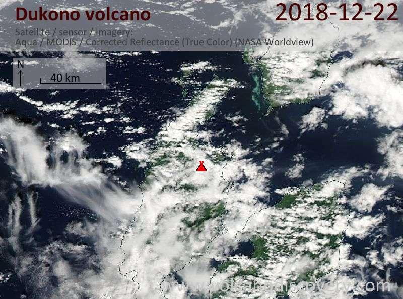 Satellite image of Dukono volcano on 23 Dec 2018