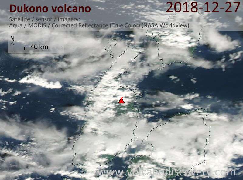 Satellite image of Dukono volcano on 28 Dec 2018