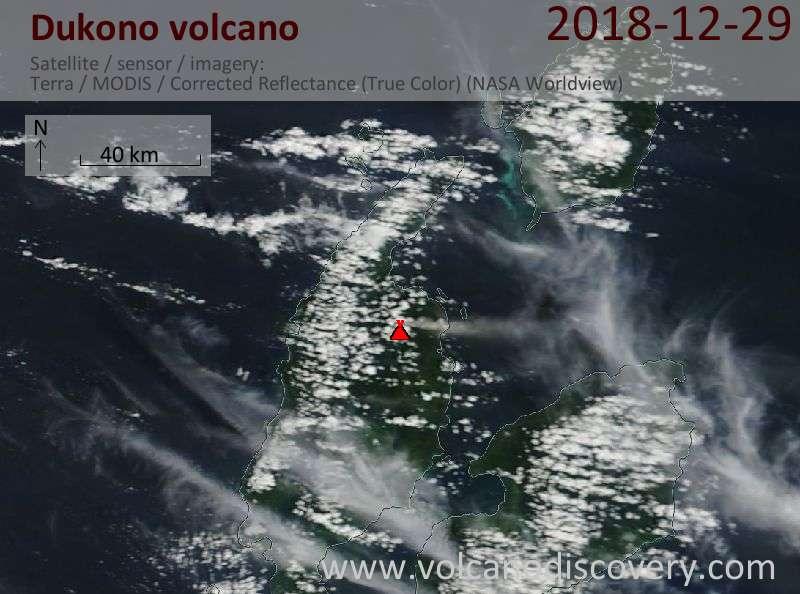Satellite image of Dukono volcano on 29 Dec 2018