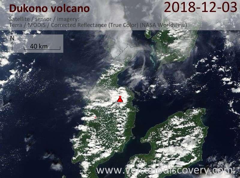 Satellite image of Dukono volcano on  3 Dec 2018
