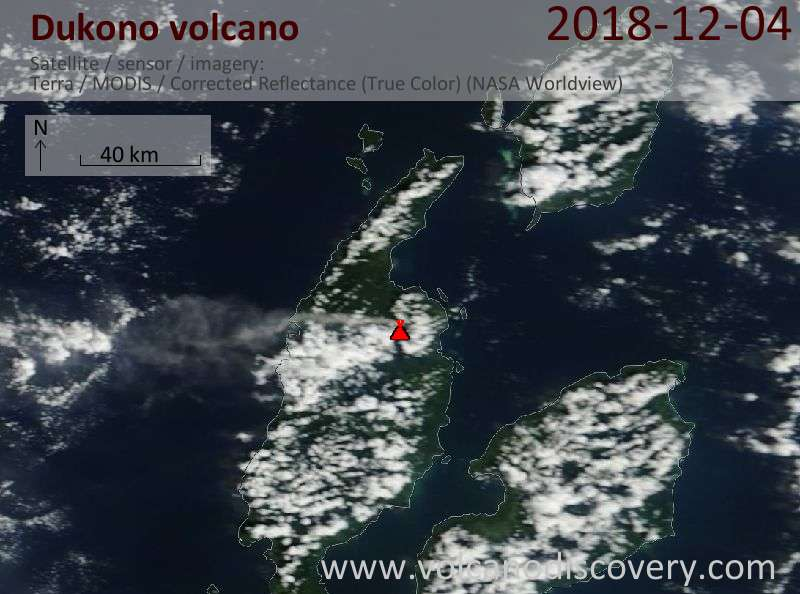 Satellite image of Dukono volcano on  4 Dec 2018