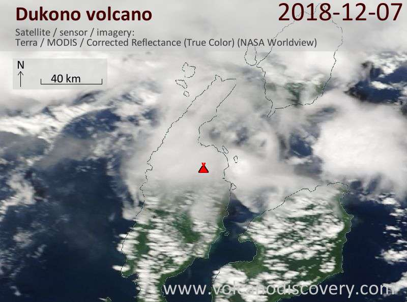 Satellite image of Dukono volcano on  7 Dec 2018