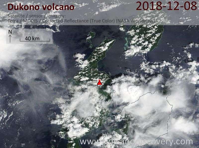Satellite image of Dukono volcano on  8 Dec 2018
