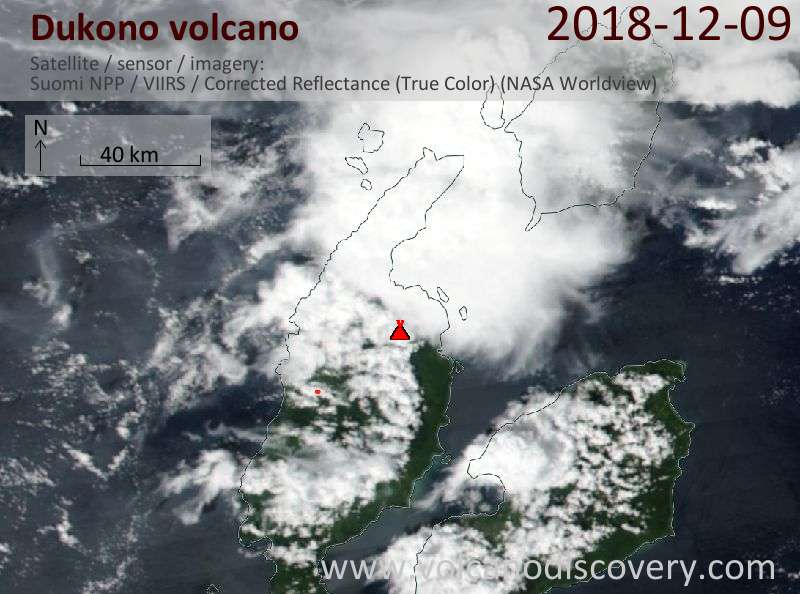 Satellite image of Dukono volcano on  9 Dec 2018