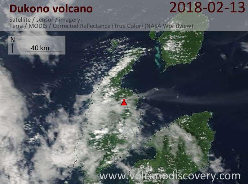 Satellite image of Dukono volcano on 13 Feb 2018