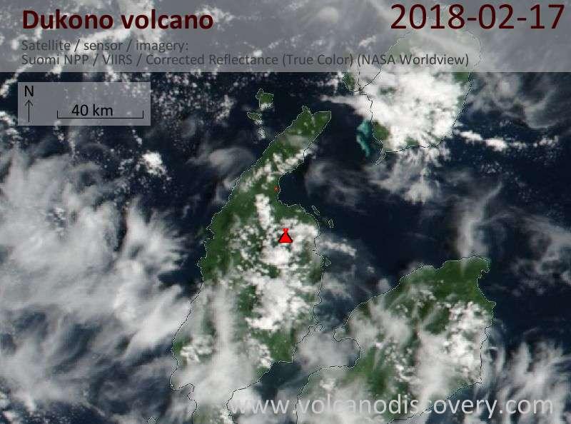 Satellite image of Dukono volcano on 17 Feb 2018