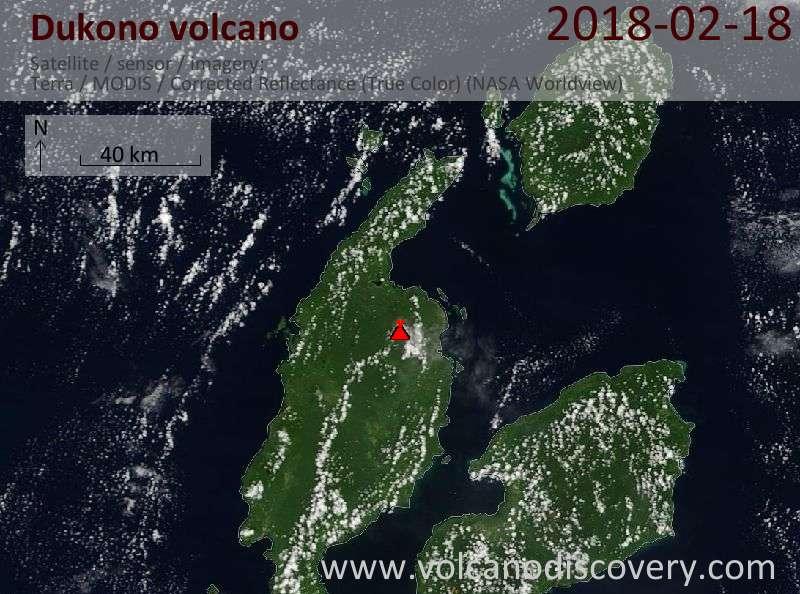 Satellite image of Dukono volcano on 18 Feb 2018