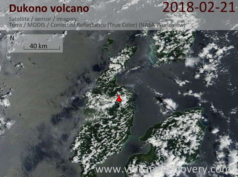 Satellite image of Dukono volcano on 21 Feb 2018