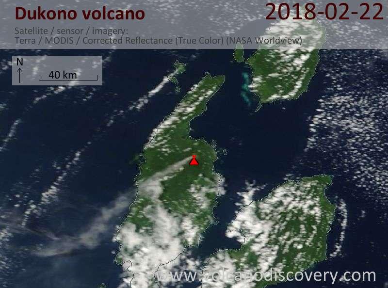 Satellite image of Dukono volcano on 22 Feb 2018