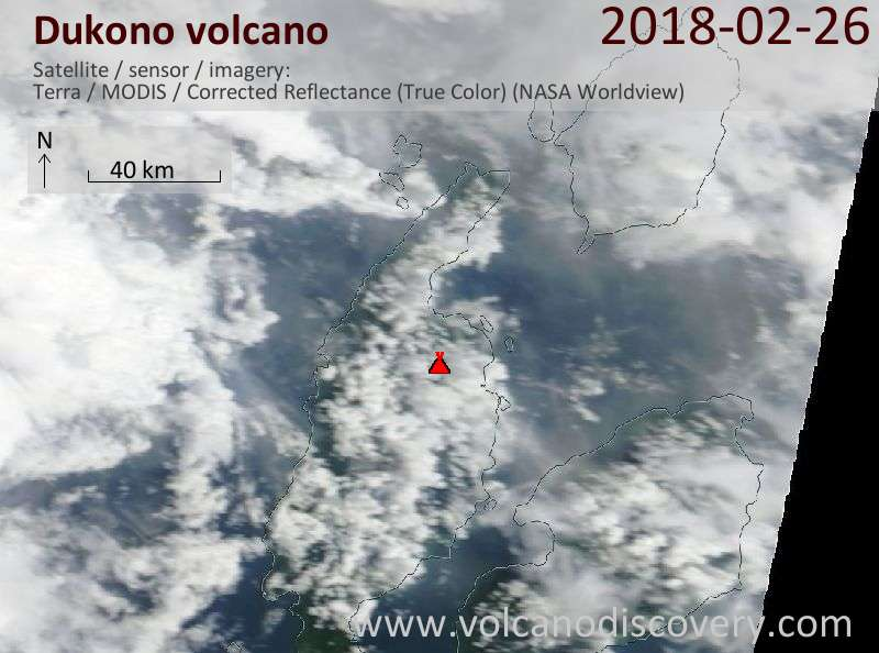Satellite image of Dukono volcano on 26 Feb 2018