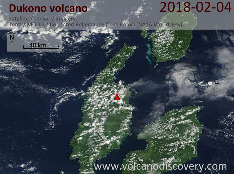 Satellite image of Dukono volcano on  4 Feb 2018