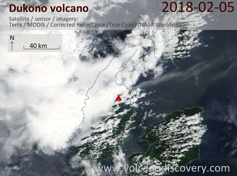 Satellite image of Dukono volcano on  5 Feb 2018