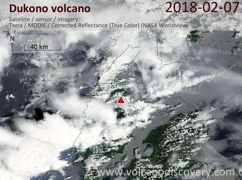 Satellite image of Dukono volcano on  7 Feb 2018