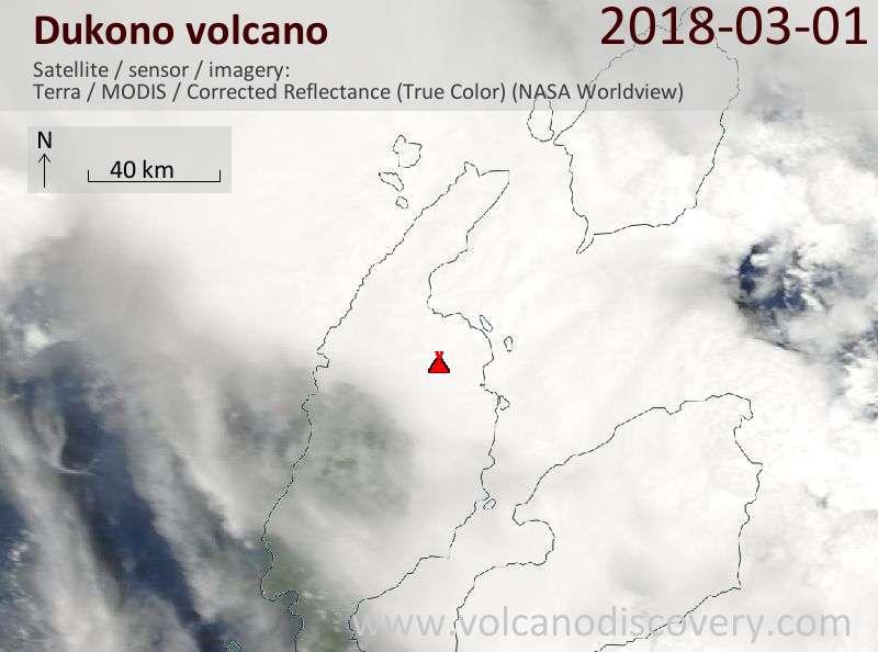 Satellite image of Dukono volcano on  1 Mar 2018