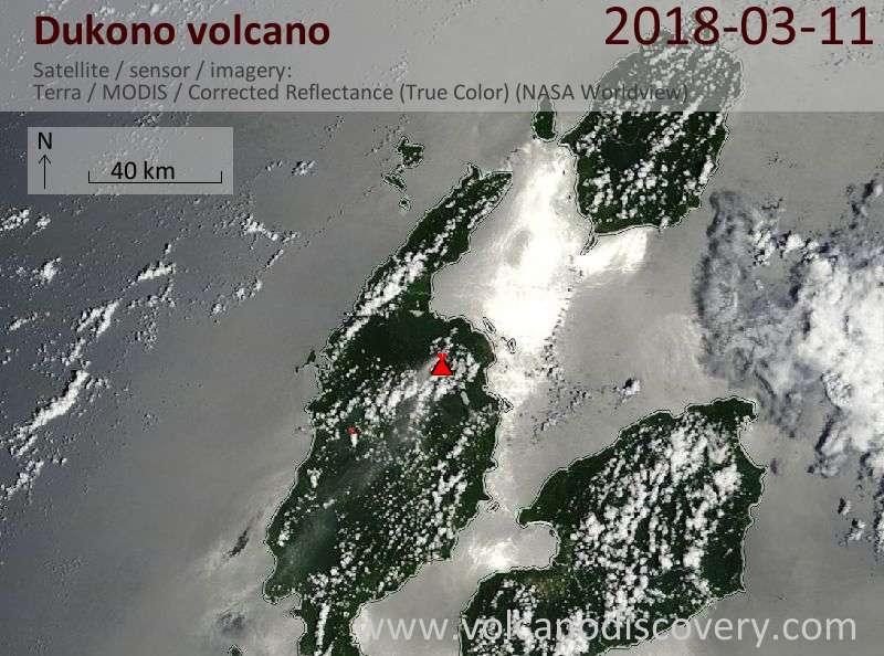 Satellite image of Dukono volcano on 11 Mar 2018