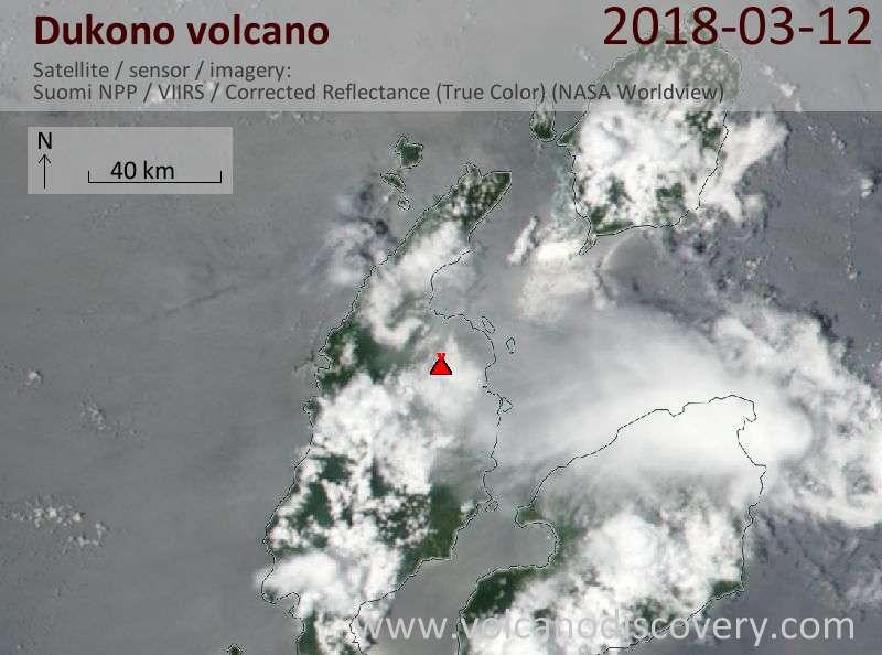 Satellite image of Dukono volcano on 12 Mar 2018