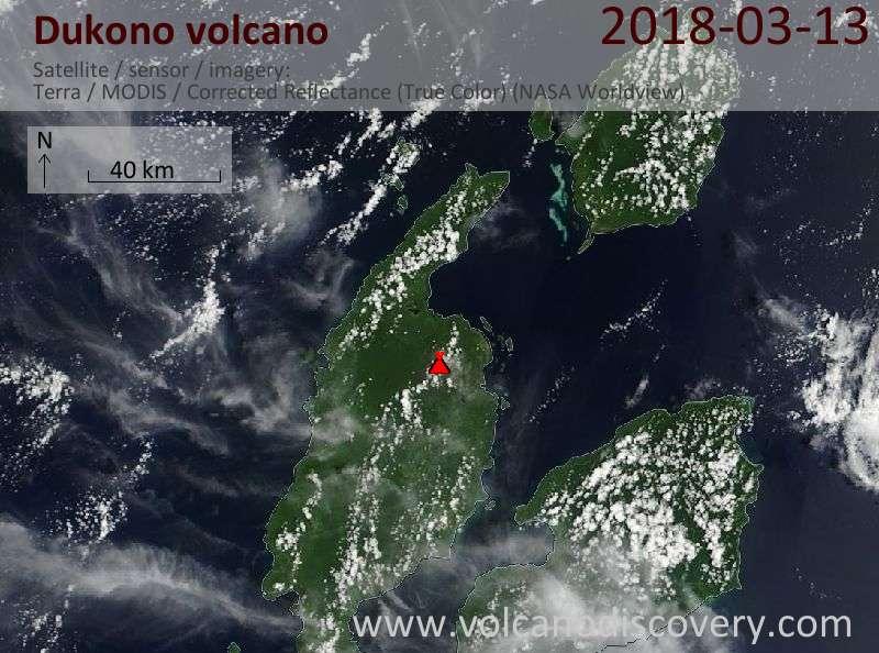 Satellite image of Dukono volcano on 13 Mar 2018
