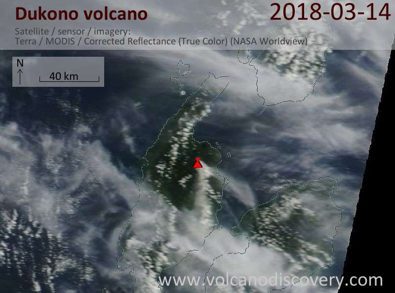 Satellite image of Dukono volcano on 14 Mar 2018