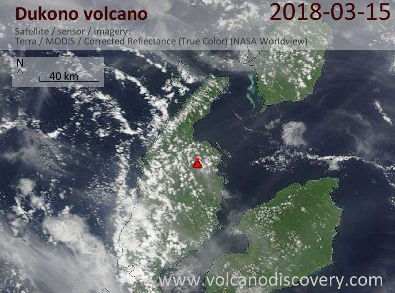 Satellite image of Dukono volcano on 15 Mar 2018