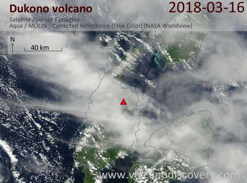 Satellite image of Dukono volcano on 16 Mar 2018